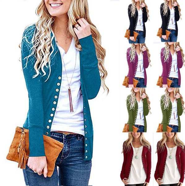 Women Button Sweater Cardigan Autumn Long Sleeve V Neck Solid Slim Outwear Knit Coat Crochet Lady Knits 60pcs OOA5909