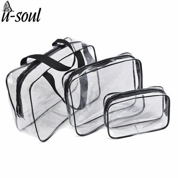 3Pcs Cosmetic Bag Set Fashion Transparent Beauty Bag Waterproof Handbags Wash Bags Ladies Make Up SC0328