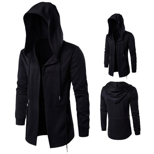 Wholesale-2017 Sonbahar Siper Erkekler Rüzgarlık Uzun Pelerin Ceket Cadı Pelerin Kapşonlu Ceket