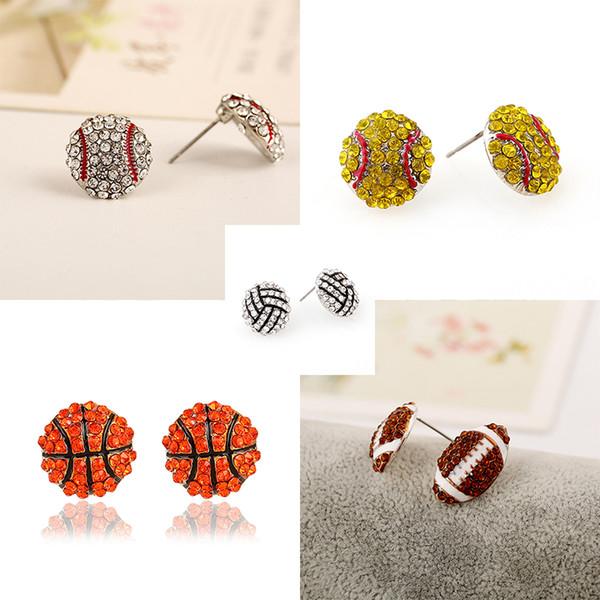 Chic Sports Earrings Rhinestone Bling Basketball Baseball Stud Earrings Softball Volleyball Earrings Sports Ear Stud 294