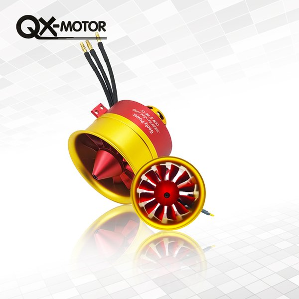 Hot Sale Metal QX-MOTOR/GP 70mm Ducted Fan EDF with 100A ESC Set Jet 12 Blade 4s-6s Lipo Motor Electric for RC airplane Model