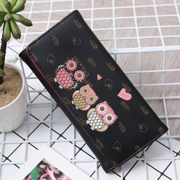 NEW Women Catoon Owl Printing Long Wallets Girls Cards ID Holder Purses Bag Multi-Card Wallets Clutch Purses good quality
