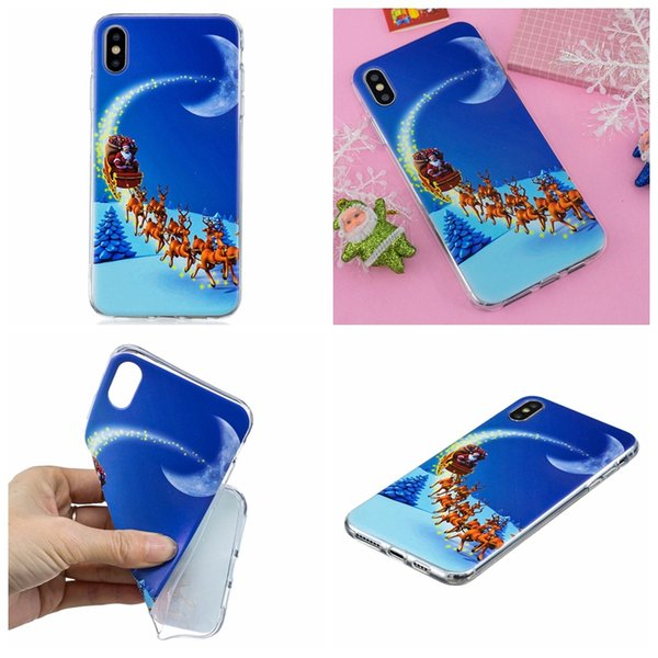 Merry Christmas Soft TPU Case For Iphone XR XS MAX X 8 7 6 5 SE Silicone Santa Claus Gift Elk Sock Snow Snowman Fashion Phone Gel Cover