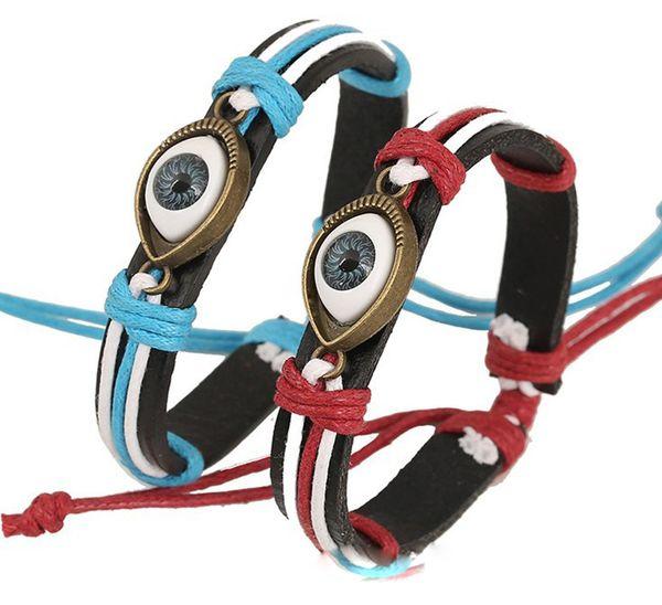 Vintage Evil Eye Bracelet Multi Layer Genuine Cowhide Leather Charm Bracelet Cuff Wristband Bead Turkish Jewelry Cuff Braclet 60PCS/Lot