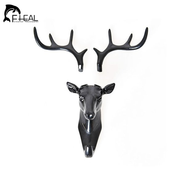 FHEAL Wall Decor Hooks Antlers Hook American Style Household Decor Hooks Multi-purpose Wall Hook for Coat Keys Bags Clothes