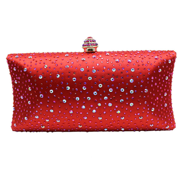 Red Hard Case Box Clutch Crystal Evening Bags for Womens Party Wedding Bridal Clutch Wallet Crystal Clutches Y18103004