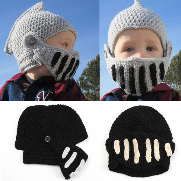 Winter Keep Warm Funny Roman Men Kids Beanies Knight Helmet Caps Knit Warm Cool Women Hats Handmade 2017 Party Gift Mask Beanie D349S