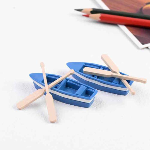 1Pair Paddles Small Blue Boat Set Mediterranean Style Miniature Fariy Garden Accessory Micro Landscape Props Moss Terrarium DIY Decoration