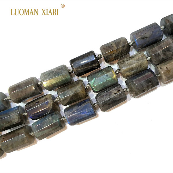 """Natural Labradorite Cylindrical Shaped Facted Stone Beads For Jewelry Making DIY Bracelet, Necklace Size 11*16 mm Strand 15"""""""