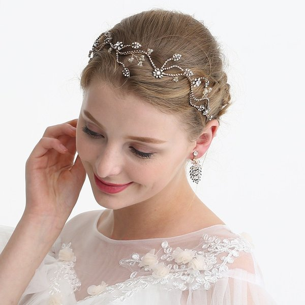 Vintage Gold Rhinestone Bridal Hair Vine Headband Flower Women Headpiece Accessories Hand wired Wedding Hair Ornament Crown
