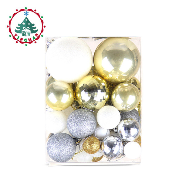 wholesale 50pc/sset White gold balls Christmas Tree Decoration Ball Ornaments Pendant Accessories Decor For Christmas Home Party