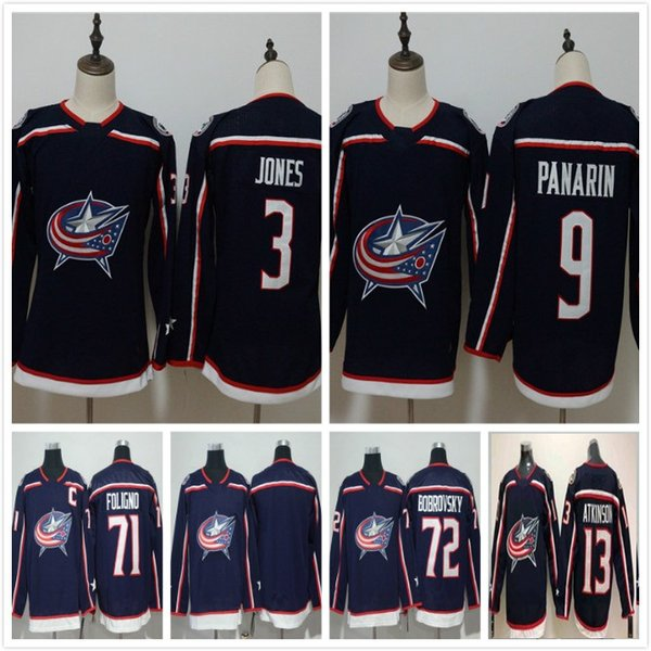 2018 Columbus Blue Jackets 3 Seth Jones 9 Artemi Panarin 13 Cam Atkinson 71 Nick Foligno 72 Sergei Bobrovsky Hockey Jersey Mens Women Youth