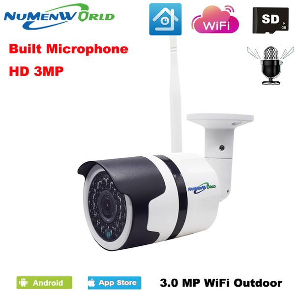 H.265 Waterproof câmera IP de rede sem fio da câmera wi-fi 3.0MP HD P2P áudio IR CCTV ao ar livre com slot SD externo