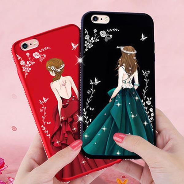 Goddess Silhouette Case Beauty Girl's Back Cover Diamante Bling TPU fundas suaves para iPhone X / 8/7/6 Plus Samsung S8 plus