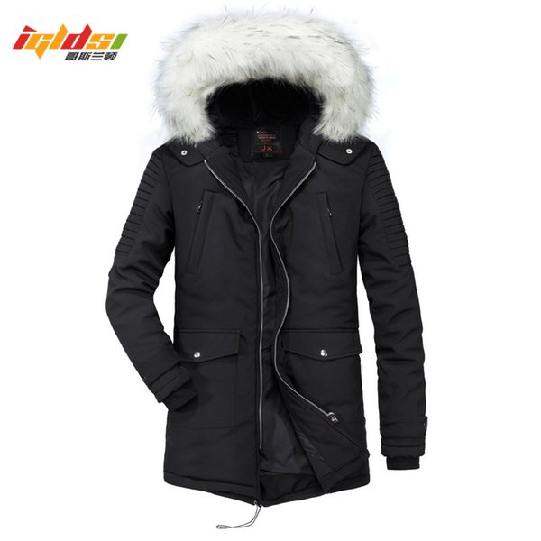 Men's Winter Jacket And Coat New 2018 Top Quality Thicken Cotton Long Style Overcoat Down Parka Fur Collar Winter Jacket Men 2XL
