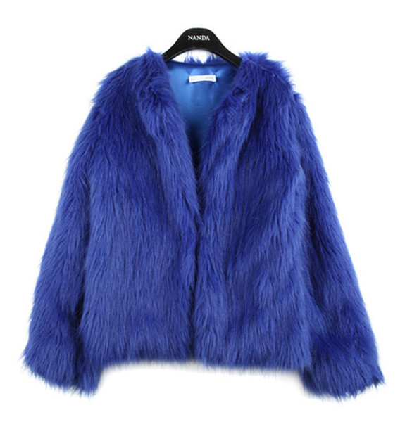 Fashion Womens Girls Autumn Winter Imitated Faux Fur Long Sleeve Winter Coat Warm Outwear Faux Fur coat Various Colors S-3XL WT02