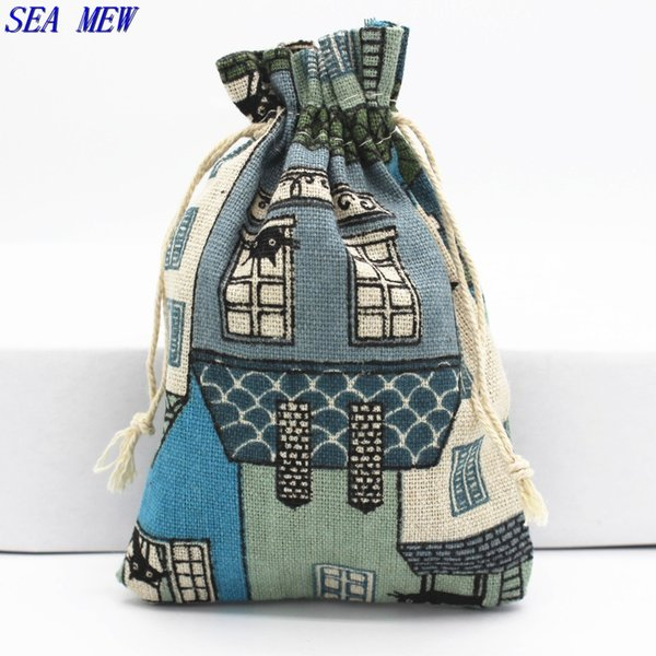 SEA MEW 135mm*93mm House Pattern Small Gift Cotton Drawstring Bag Jewelry Wedding Gift Jewelry Packaging Bags