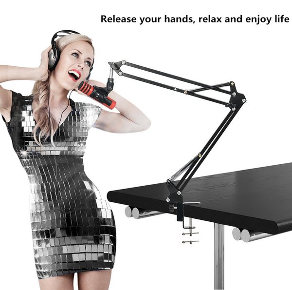 NB-35 Microphone Suspension Boom Scissor Arm Stand with Mic Clip Holder & Pop Filter Windscreen Mask Shield with Stand Clip Kit