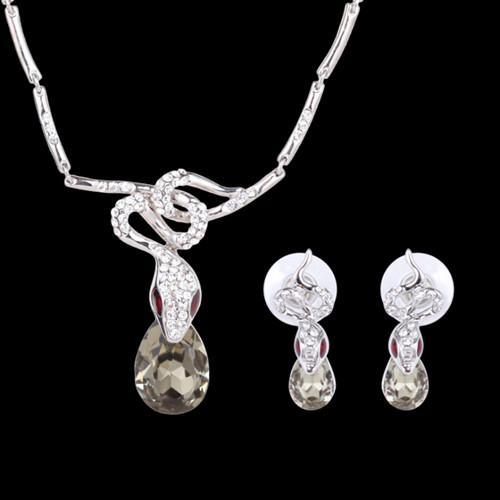 Jewelry Sets Necklaces Earrings 2-Piece Set Fashion Women Exquisite Rhinestone White Gold Plated Alloy Snakes Party Jewelry Wholesale JS317