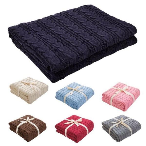 Couverture tricotée 110 * 180 cm Bureau sieste jeter couette couette douces couvertures de literie nouveau-né bébé Swaddle Wrap 16 couleurs 10 pcs OOA4571