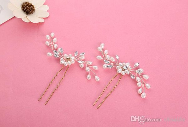 2017 Wholesale New Wedding Accessories Bridal Pearl Hairpins Flower Crystal Pearl Rhinestone Hair Pins Clips Bridesmaid Women Hair Jewelry