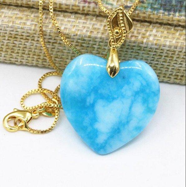 Pendenti della collana della catena del pendente del cuore del calcedonio della giada della pietra naturale di 25mm