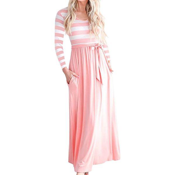 Casual Women\'S Autumn O Neck Maxi Long Dress Female Sashes Striped Maxi  Dresses With Pocket Plus Size Female Long Dresses Gv308 Dresses For Juniors  ...