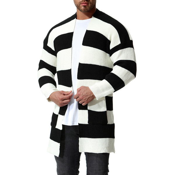 más fotos 4d18e bf102 Compre Sólido Cardigan Largo Hombres Suéter A Rayas De Punto De Invierno  Con Capucha Cardigan Hombres Suéter Hombre Largo Cardigans Para Hombre  Suéter ...