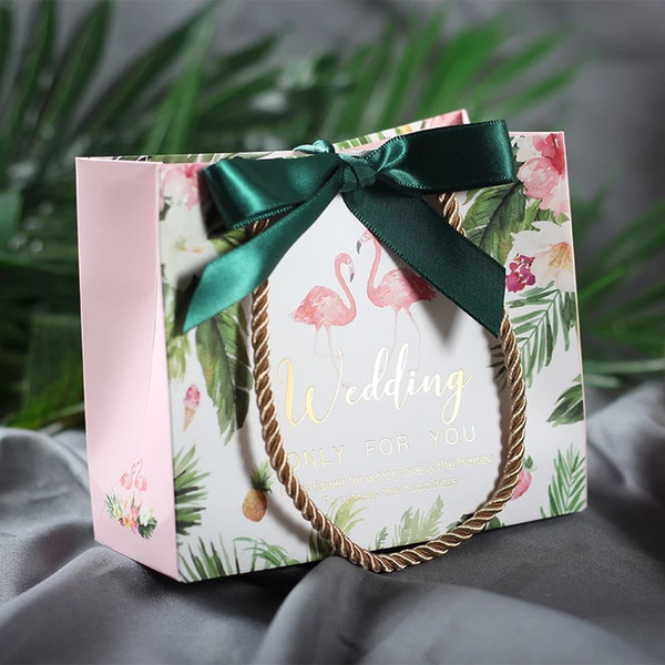 Flamingo Kraft Paper Bag With Handles and Ribbon Paper Gift Bags For Wedding Party Favors Small Bags Present Cookies Candy Cake