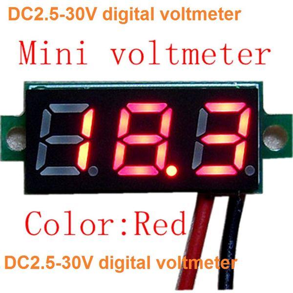 новый 0.28 цифровой вольтметр постоянного тока Mini DC 2.5-30V зеленый красный белый LED 2-проводный цифровой дисплей напряжение вольтметр панель тестер напряжения двигателя модуль