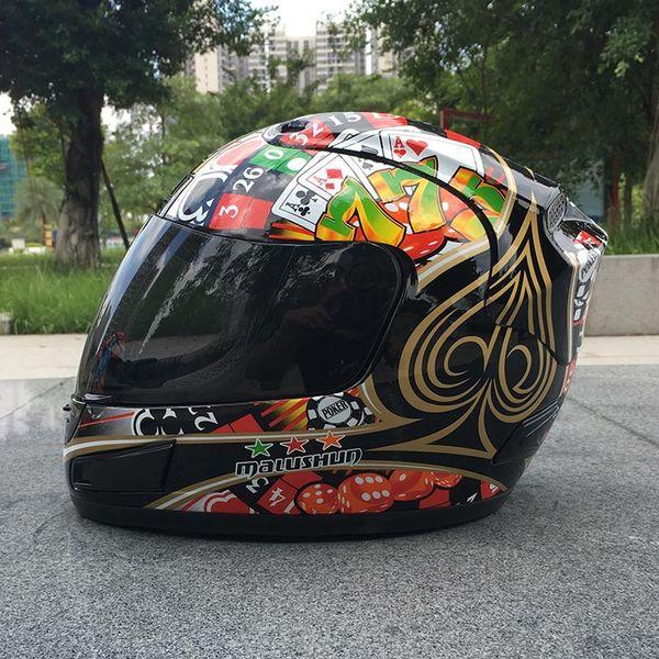 MALUSHUN A1 Motosiklet Kask Moto Capacete Flip Up Poker Baskı Tam Yüz Yarış Kaskları Casque De Moto