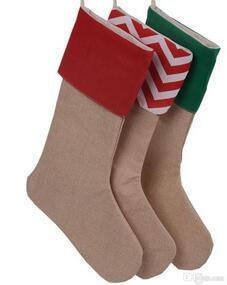 Christmas Canvas Stocking Gift Bag Stocking 30*45cm Christmas Tree Decoration Socks Xmas Stockings 9 Styles