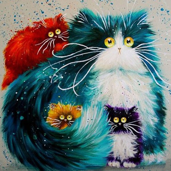 Framed Color Cat DIY Painting By Numbers Drawing By Painting Kits Painting Hand Painted On Canvas For Home Wall Art Picture