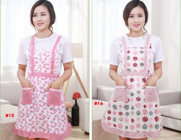 best selling Women Aprons with Pocket Cooking Ruffle Chef Floral Kitchen Restaurant Princess Apron Polyester Kindergarten Clothes Bib with Pockets