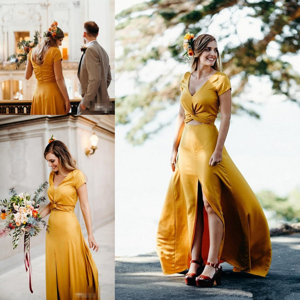 Keyhole Waist Gold Chiffon Wedding Dresses 2018 Cap Sleeve Thigh-High Slits Colorful Flowy Outdoor Garden Country Farm Bridal Gown Cheap