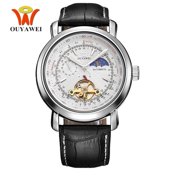 OYW Tourbillion Mechanical Men Skeleton Calendar Automático Reloj de pulsera Correa de cuero Blanco Moda impermeable Self Wind Watches