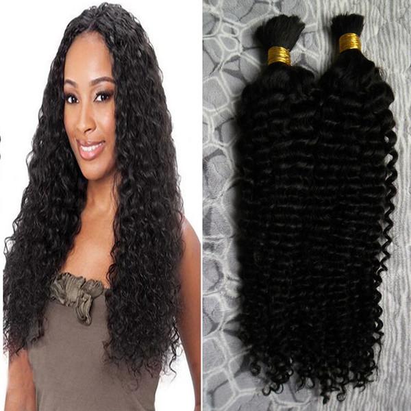2 bundles 200g kinky curly Brazilian Bulk Human Hair For Braiding Unprocessed Human Braiding Hair Bulk No Weft 200g natural black hair