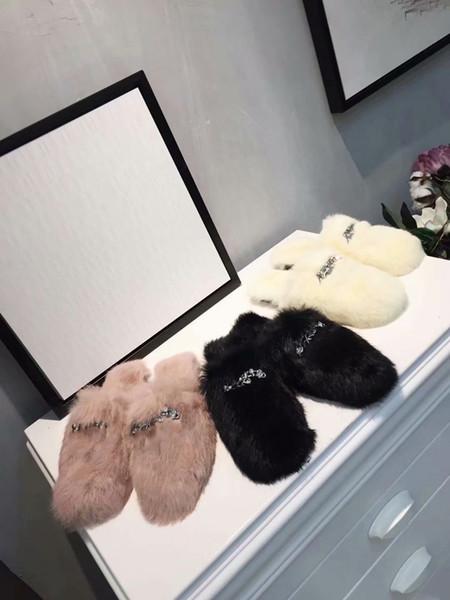 Slippers Fur Furry Women Casual Flat Shoes Plush Cony Hair Diamond Soft Warm Fluffy Slip On Cute Home Floor Slipper Autumn Winter