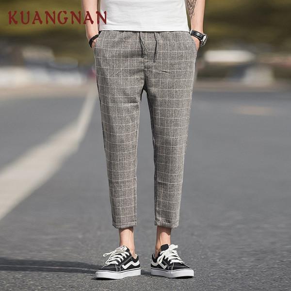 KUANGNAN случайные плед брюки мужчины уличная пят льняные брюки Мужские бегунов 5XL замыкают белье одежда осень 2018 Новый