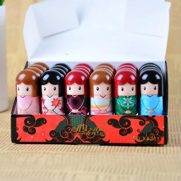 best selling Cute Kimono Doll Natural Harmless Plant Moisturizing Healthy Lipstick Lip Pen Color Pattern Random Free DHL 288