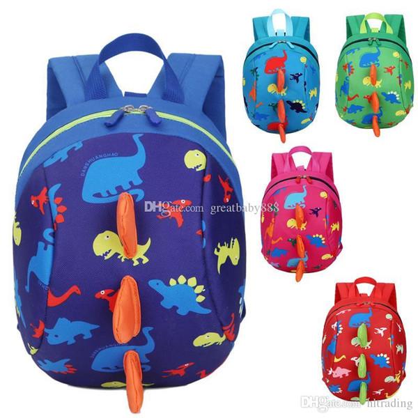 5 Colors Kids Safety Harness Backpack Leash Child Toddler Anti-lost Dinosaur Backpack Cartoon Arlo Kindergarten Backpacks C3289