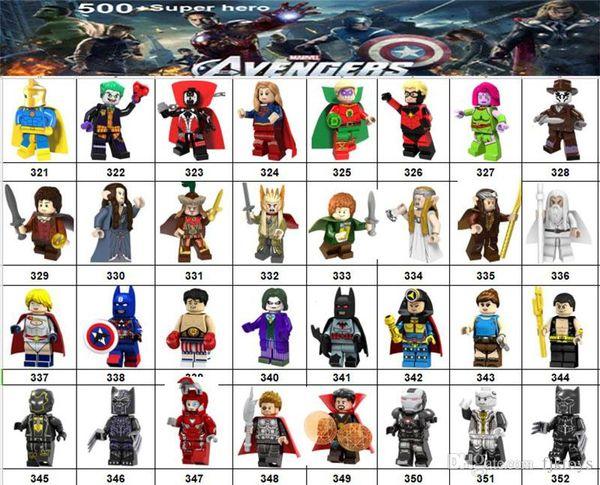 Wholsale Super hero Mini Figures Marvel Avengers DC Justice League Wonder woman Deadpool Batman Black Widow building blocks kids gifts