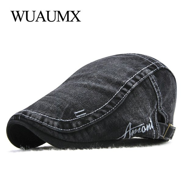 Wuaumx Summer Berets Hat For Men Cotton Wash Flat Cap Male Peaked Hat Newsboy Style Visors Beret Cap 2018 Adjustable Casquette