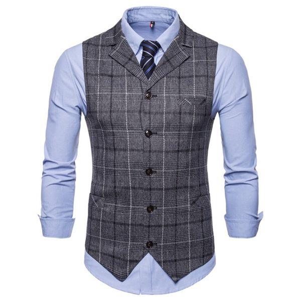 Dark Gray Formal Vest Men Suit Costume Gilet Homme British Plaid Tweed Casual Waistcoat For Men Brown Winter Autumn 2018