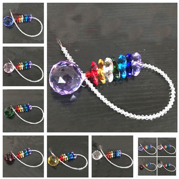 7PCS 40mm Chakra Glass Crystal Suncatcher Prisms Pendant Hanging Ball Pendants Home Decorations Rainbow Maker W109-40mm