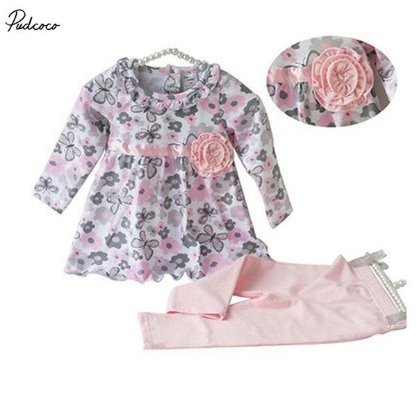 New 12 18 24 Months Floral Peplum Dress + Pant Outfit Baby Girl 2PCS Clothes Set