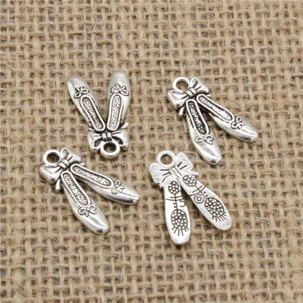 Wholesale 103pcs Charms Tibetan Silver Plated ballet shoes slippers 20*13mm Pendant for Jewelry DIY Hand Made Fitting