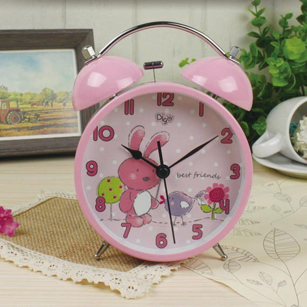 Cartoon No Ticking Silent Quartz Table Bedside Twin Bell Alarm Clock with Nightlight for kids children schoolboys