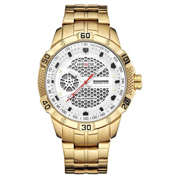Solar watch new design environmental WEIDE-SE0707 men's fashion slim simple calendar waterproof mesh steel sports watch