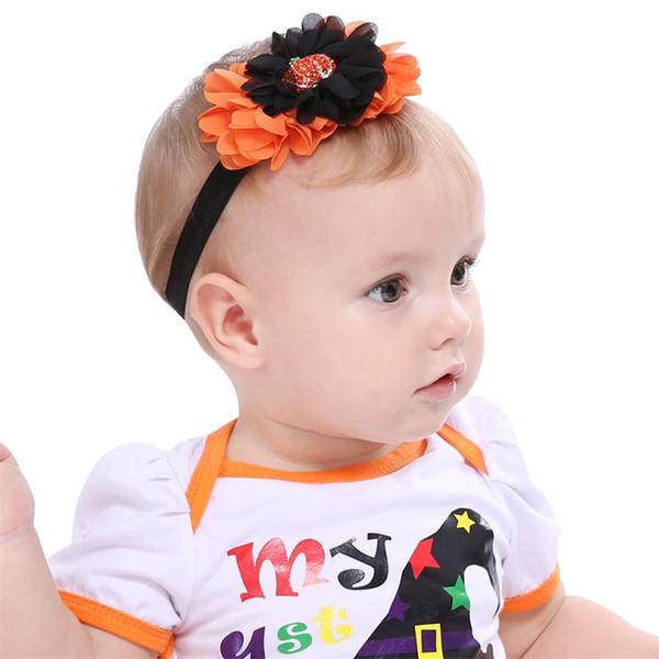 Vendas del bebé de los cabritos de Halloween Venda del pelo de la calabaza del Rhinestone Flores de la gasa Diadema Naranja naranja Recién nacido Headwear Accesorios